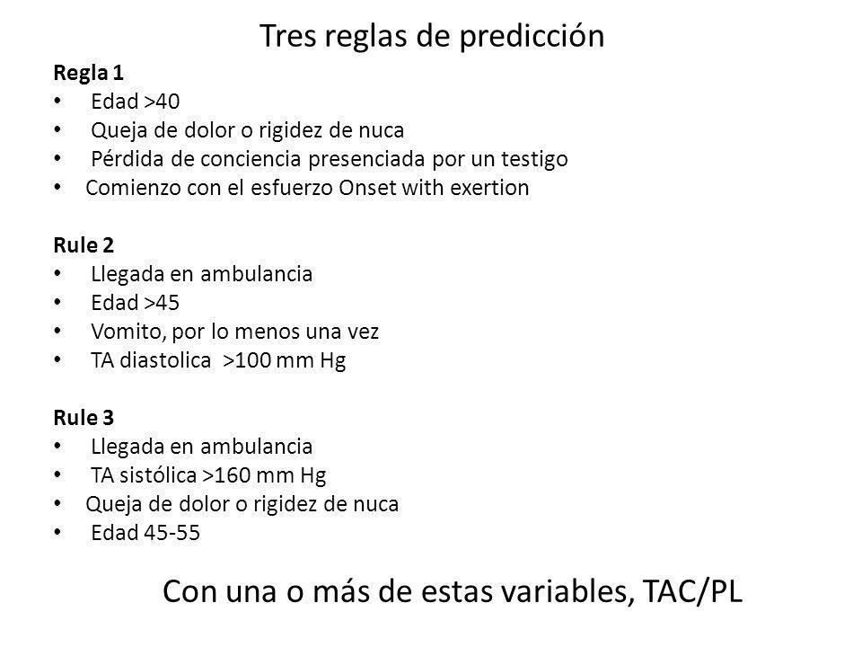 Tres reglas de predicción Regla 1 Edad >40 Queja de dolor o rigidez de nuca Pérdida de conciencia presenciada por un testigo Comienzo con el esfuerzo
