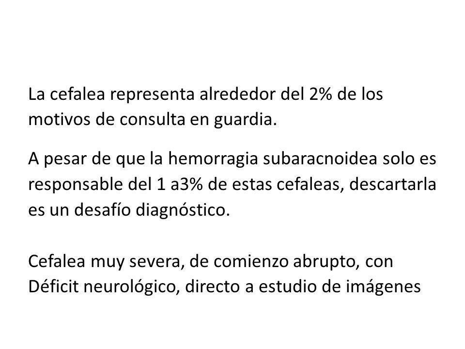 La cefalea representa alrededor del 2% de los motivos de consulta en guardia. A pesar de que la hemorragia subaracnoidea solo es responsable del 1 a3%