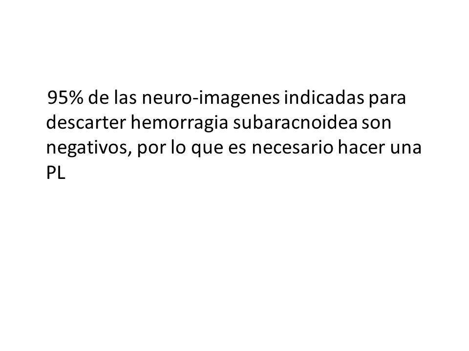 95% de las neuro-imagenes indicadas para descarter hemorragia subaracnoidea son negativos, por lo que es necesario hacer una PL