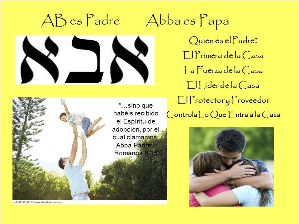 AB es Padre Abba es Papa Quien es el Padre? El Primero de la Casa La Fuerza de la Casa El Líder de la Casa El Protector y Proveedor Controla Lo Que En