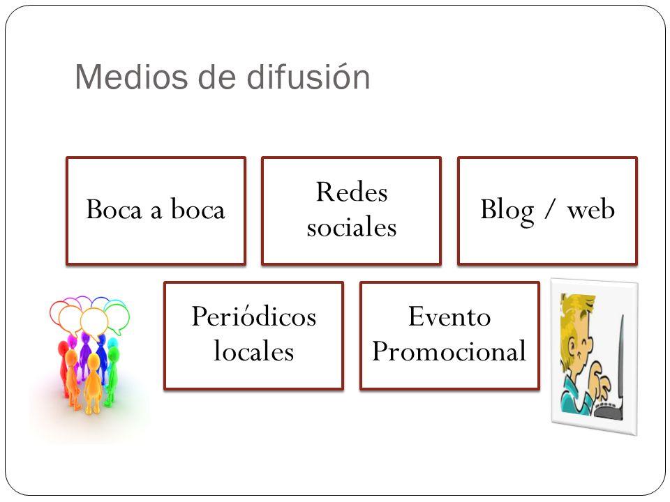 Medios de difusión Boca a boca Redes sociales Blog / web Periódicos locales Evento Promocional