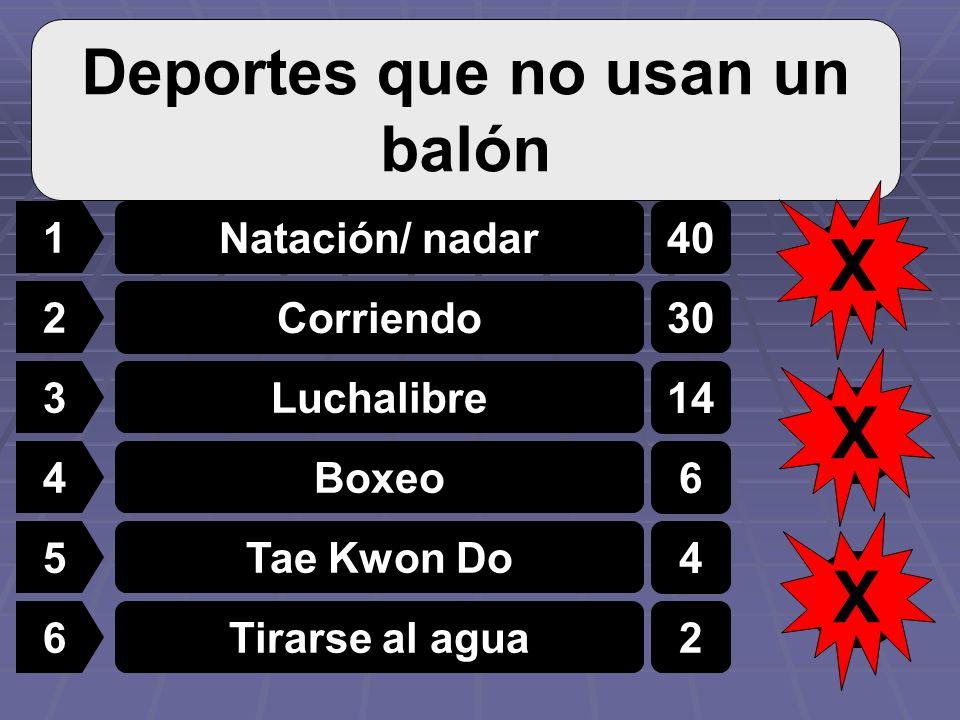 1 2 3 4 5 6 Natación/ nadar Corriendo Luchalibre Boxeo Tae Kwon Do Tirarse al agua 40 30 14 6 4 2 Deportes que no usan un balón 3 X 2 X 1 X