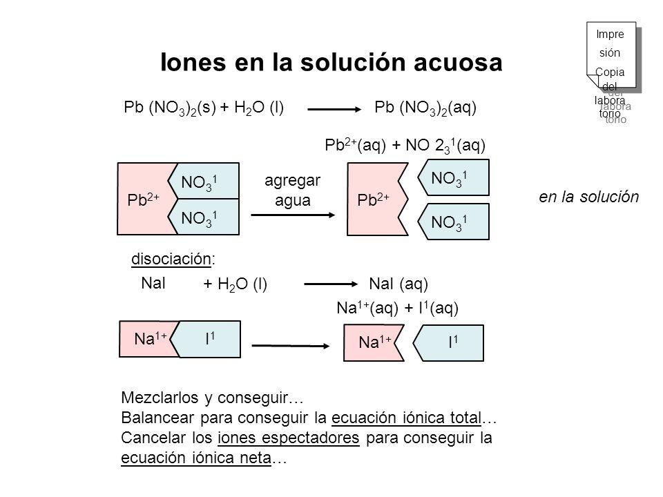 Pb 2+ NO 3 1 Na 1+ I1 I1 Iones en la solución acuosa Pb (NO 3 ) 2 (s) Pb (NO 3 ) 2 (aq) Pb 2+ (aq) + NO 2 3 1 (aq) agregar agua NaI + H 2 O (l) disoci