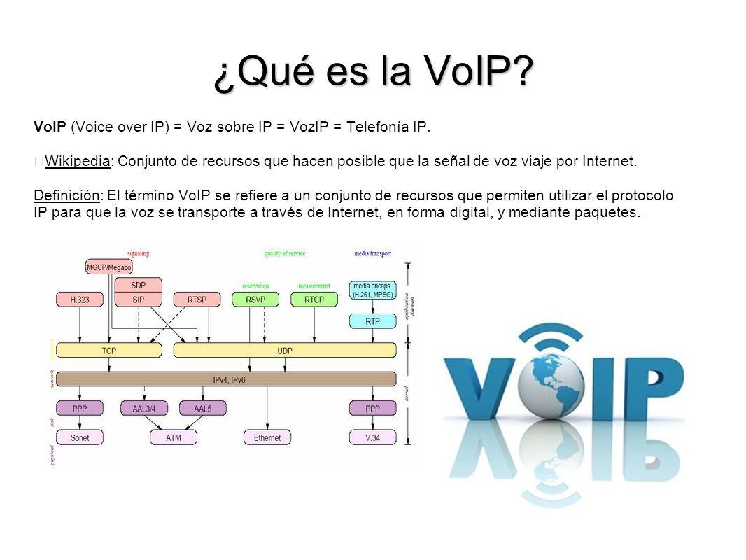 ¿Qué es la VoIP? VoIP (Voice over IP) = Voz sobre IP = VozIP = Telefonía IP. Wikipedia: Conjunto de recursos que hacen posible que la señal de voz via