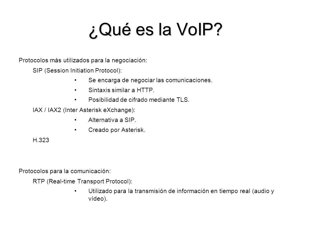 ¿Qué es la VoIP? Protocolos más utilizados para la negociación: SIP (Session Initiation Protocol): Se encarga de negociar las comunicaciones. Sintaxis