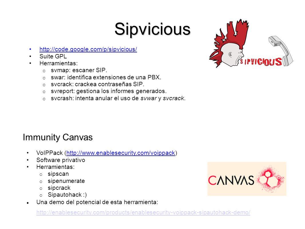 Sipvicious http://code.google.com/p/sipvicious/ Suite GPL Herramientas: o svmap: escaner SIP. o swar: identifica extensiones de una PBX. o svcrack: cr