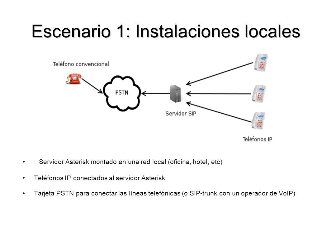 Escenario 1: Instalaciones locales Servidor Asterisk montado en una red local (oficina, hotel, etc) Teléfonos IP conectados al servidor Asterisk Tarje