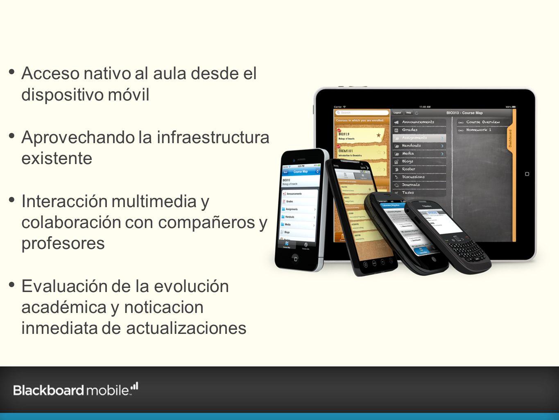 Acceso nativo al aula desde el dispositivo móvil Aprovechando la infraestructura existente Interacción multimedia y colaboración con compañeros y prof