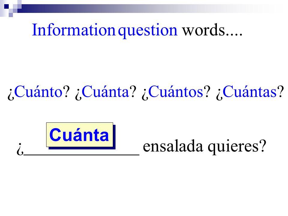 ¿Cuánto? ¿Cuánta? ¿Cuántos? ¿Cuántas? ¿_____________ ensalada quieres? Cuánta Information question words....