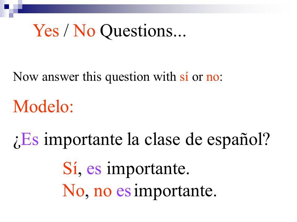 Now answer this question with sí or no: Modelo: ¿Es importante la clase de español? Yes / No Questions... Sí, es importante. No, no es importante.