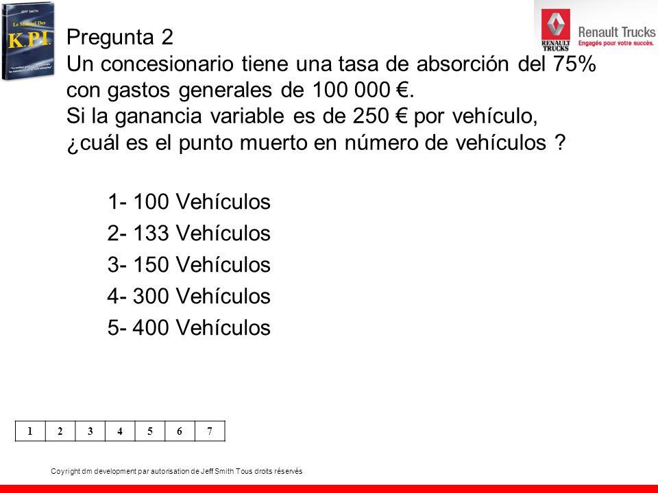 Coyright dm development par autorisation de Jeff Smith Tous droits réservés Pregunta 3 Un distribuidor Renault Trucks tiene 17 VO en stock después de 5 meses de actividad; en este período, vendió 34 VO.