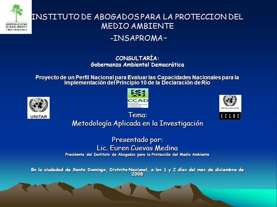 INSTITUTO DE ABOGADOS PARA LA PROTECCION DEL MEDIO AMBIENTE -INSAPROMA - INSTITUTO DE ABOGADOS PARA LA PROTECCION DEL MEDIO AMBIENTE -INSAPROMA - CONS