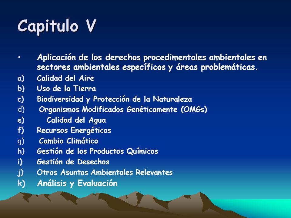 Capitulo V Aplicación de los derechos procedimentales ambientales en sectores ambientales específicos y áreas problemáticas. a)Calidad del Aire b)Uso