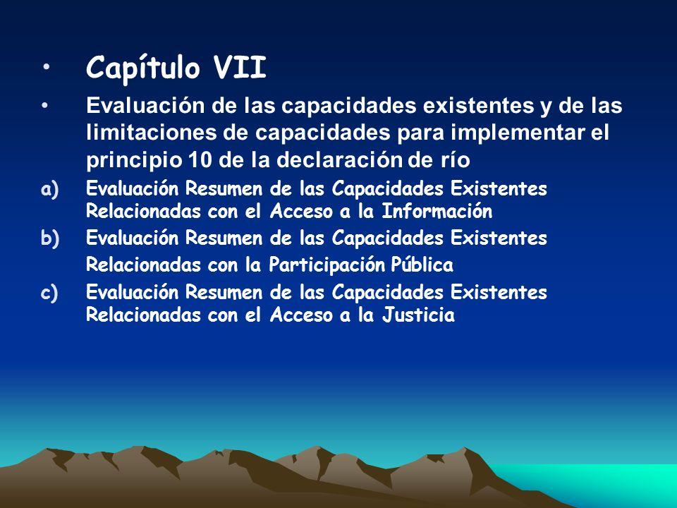 Capítulo VII Evaluación de las capacidades existentes y de las limitaciones de capacidades para implementar el principio 10 de la declaración de río a
