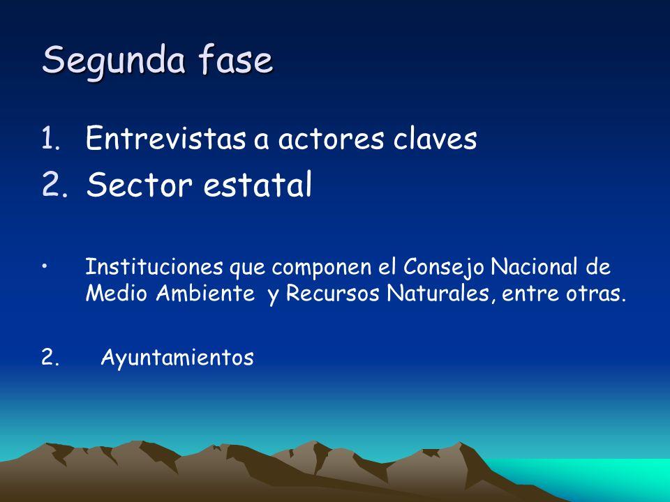 Segunda fase 1.Entrevistas a actores claves 2.Sector estatal Instituciones que componen el Consejo Nacional de Medio Ambiente y Recursos Naturales, en