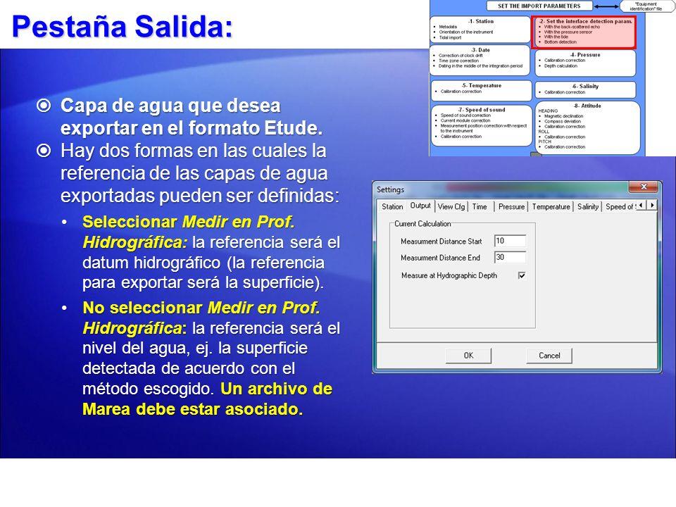 Referenciando su Datum Hidrográfico Seleccione `Medir en Prof.