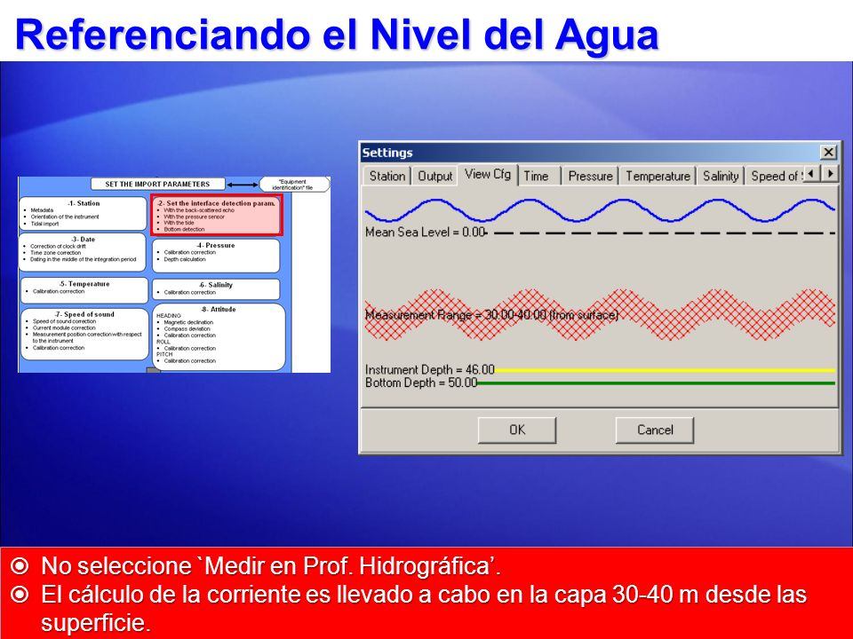 La opción `Medir en Prof. Hidrográfica no es seleccionada... Referenciando el Nivel del Agua