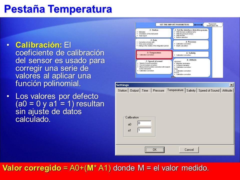 Pestaña Salinidad Calibración: Actualmente no usada.
