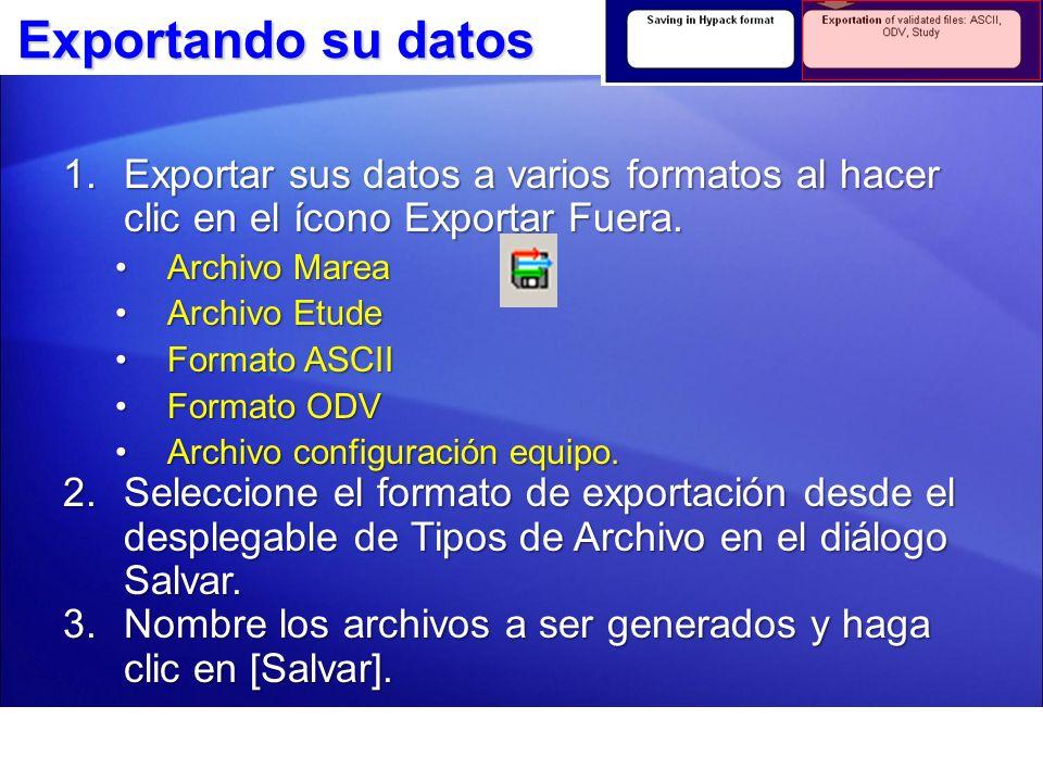 Exportando Datos Marea La interfaz puede ser exportada en los formatos *.TDX o MASG *.TDF HYPACK.