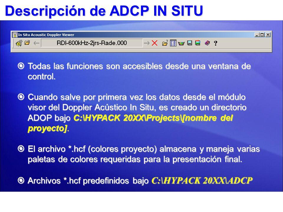 ADCP In Situ Shell Configuración Parámetros importación archivo bruto.