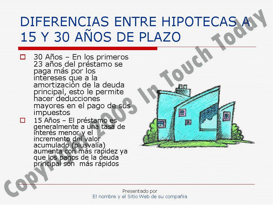 Presentado por El nombre y el Sitio Web de su compañía DIFERENCIAS ENTRE HIPOTECAS A 15 Y 30 AÑOS DE PLAZO 30 Años – En los primeros 23 años del prést