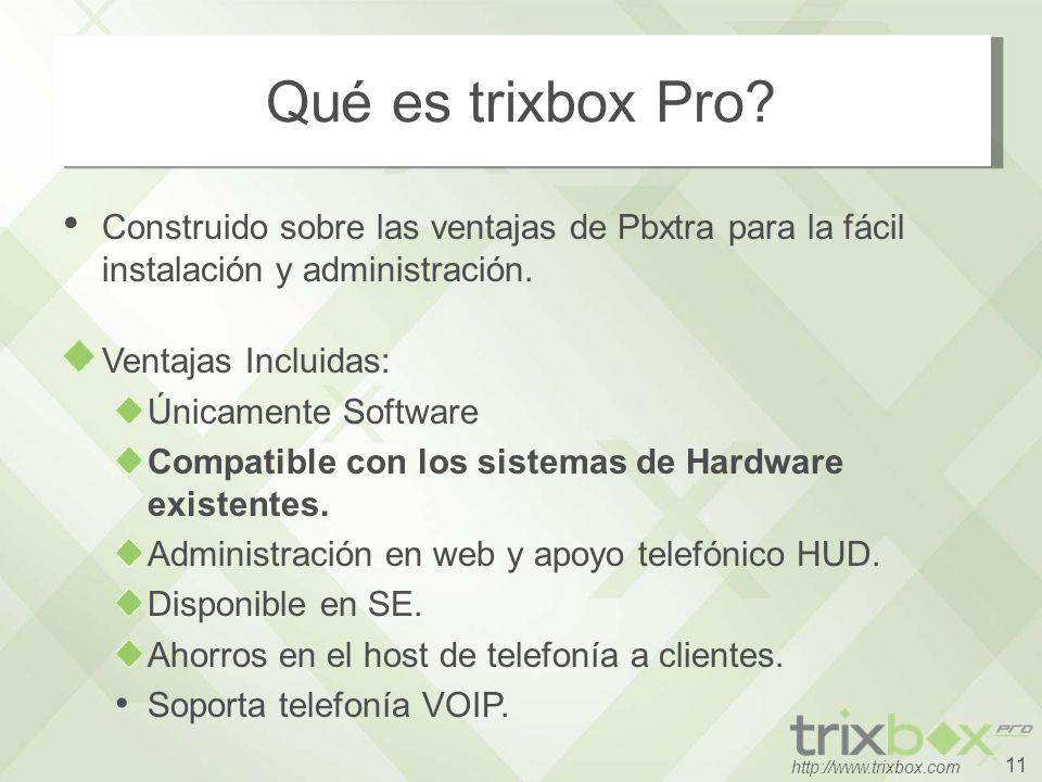 11 http://www.trixbox.com Qué es trixbox Pro? Construido sobre las ventajas de Pbxtra para la fácil instalación y administración. Ventajas Incluidas: