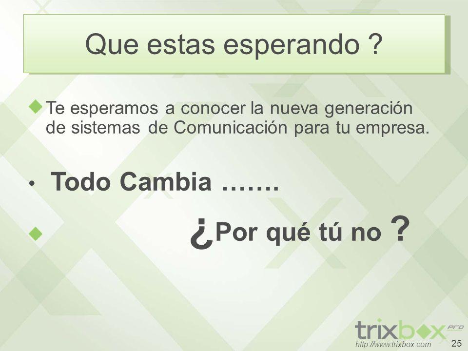 25 http://www.trixbox.com Que estas esperando ? Te esperamos a conocer la nueva generación de sistemas de Comunicación para tu empresa. Todo Cambia ……
