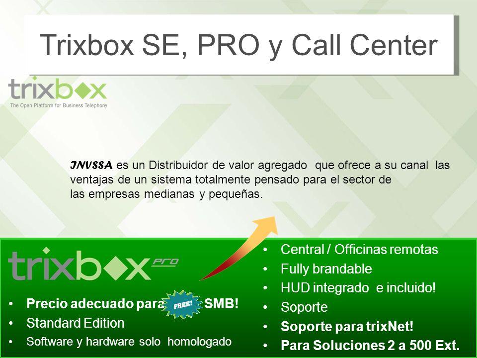 8 http://www.trixbox.com Precio adecuado para SMB! Standard Edition Software y hardware solo homologado Central / Officinas remotas Fully brandable HU