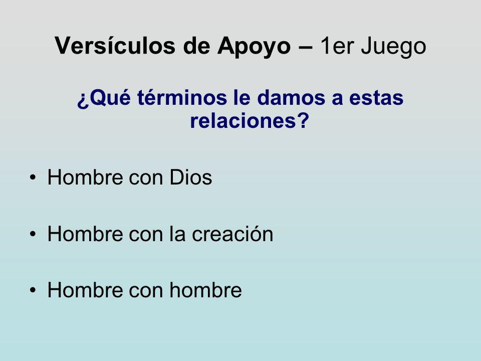 Versículos de Apoyo – 1er Juego ¿Qué términos le damos a estas relaciones? Hombre con Dios Hombre con la creación Hombre con hombre