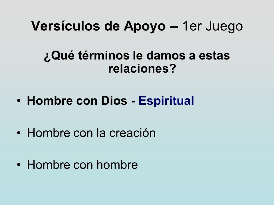 Versículos de Apoyo – 1er Juego ¿Qué términos le damos a estas relaciones? Hombre con Dios - Espiritual Hombre con la creación Hombre con hombre