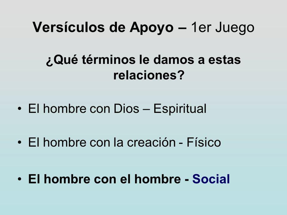 Versículos de Apoyo – 1er Juego ¿Qué términos le damos a estas relaciones? El hombre con Dios – Espiritual El hombre con la creación - Físico El hombr