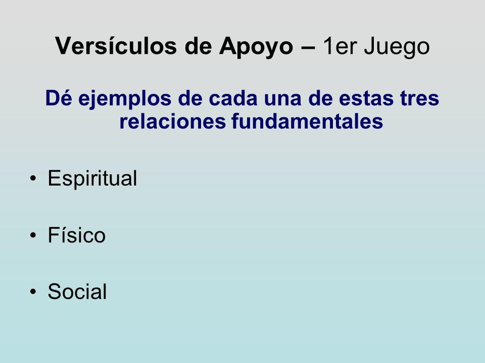 Versículos de Apoyo – 1er Juego Dé ejemplos de cada una de estas tres relaciones fundamentales Espiritual Físico Social