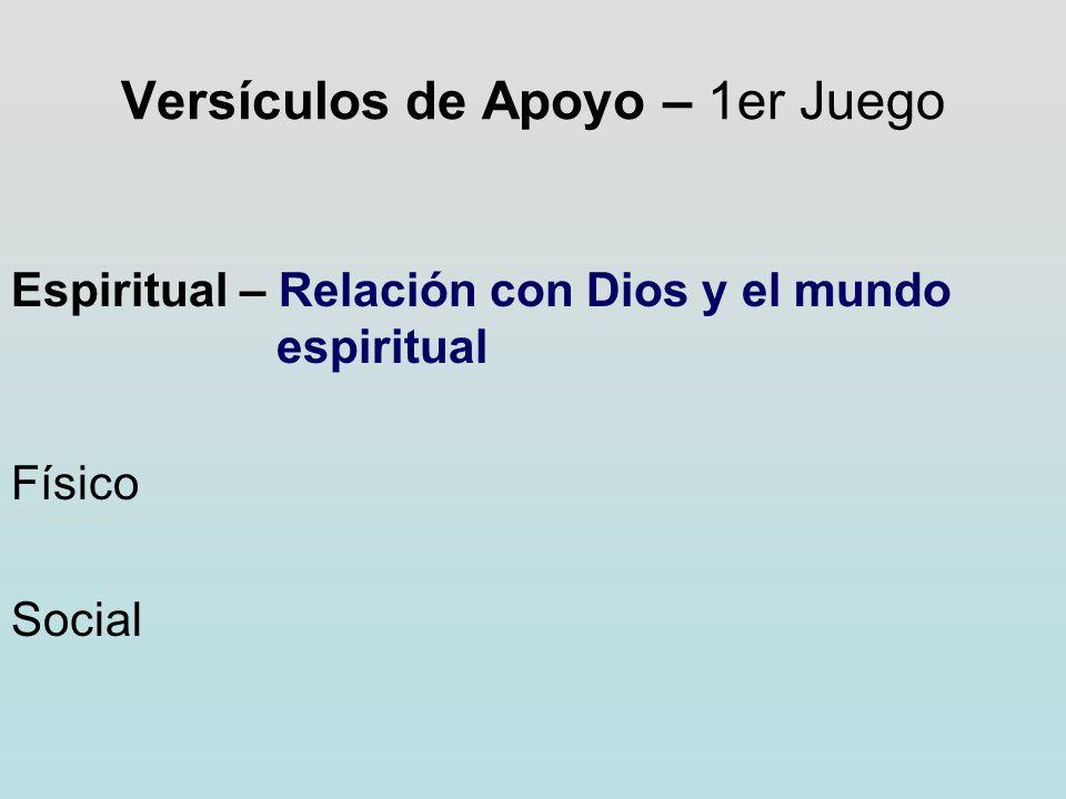 Versículos de Apoyo – 1er Juego Espiritual – Relación con Dios y el mundo espiritual Físico Social