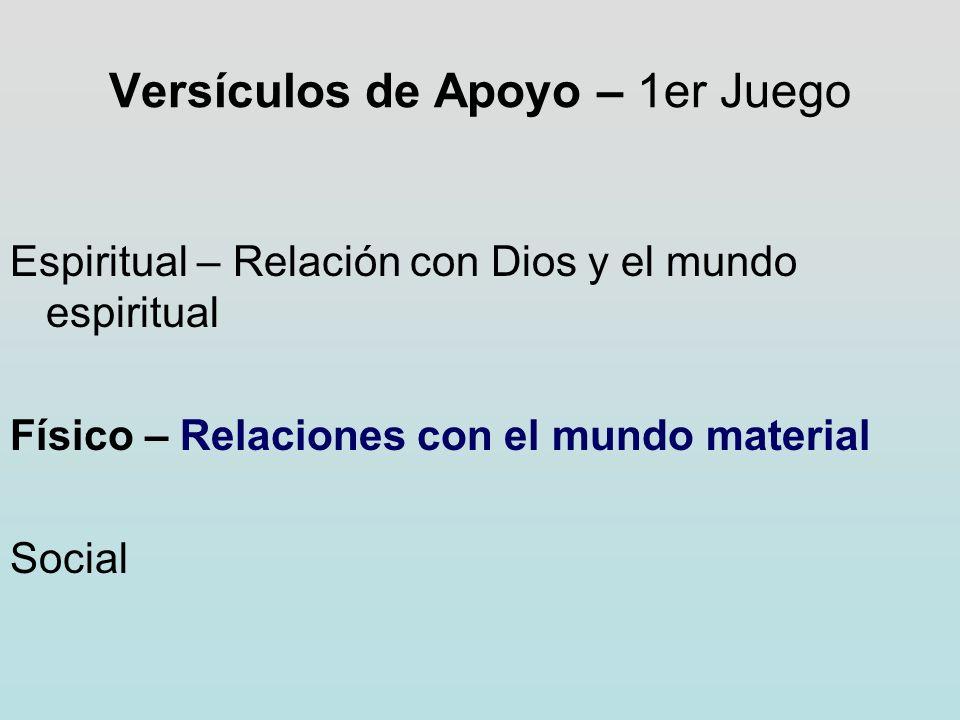 Versículos de Apoyo – 1er Juego Espiritual – Relación con Dios y el mundo espiritual Físico – Relaciones con el mundo material Social