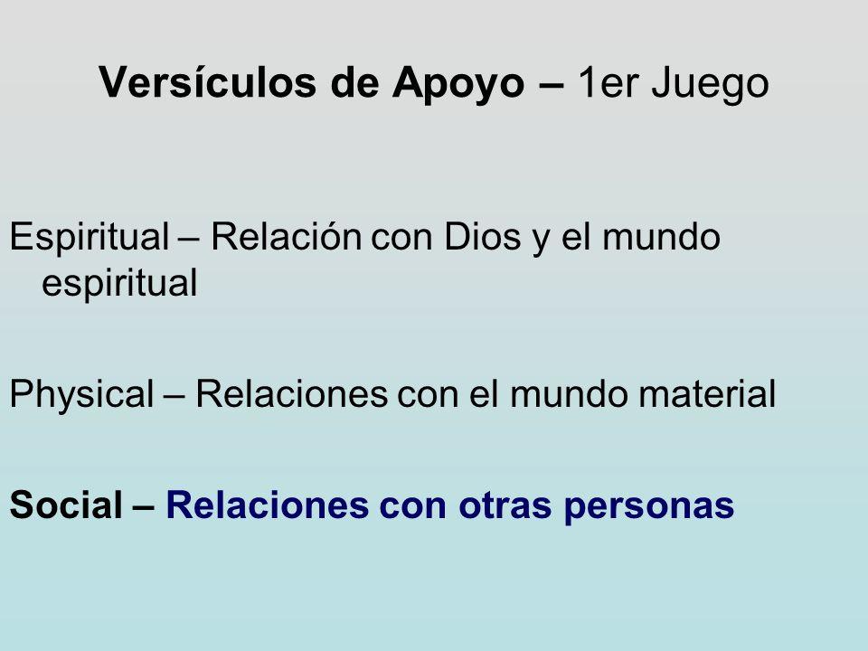 Versículos de Apoyo – 1er Juego Espiritual – Relación con Dios y el mundo espiritual Physical – Relaciones con el mundo material Social – Relaciones c