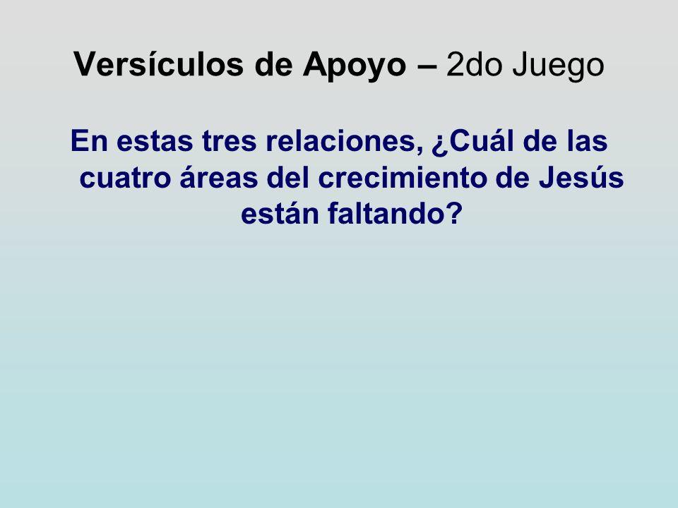 Versículos de Apoyo – 2do Juego En estas tres relaciones, ¿Cuál de las cuatro áreas del crecimiento de Jesús están faltando?