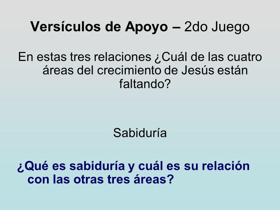 Versículos de Apoyo – 2do Juego En estas tres relaciones ¿Cuál de las cuatro áreas del crecimiento de Jesús están faltando? Sabiduría ¿Qué es sabidurí
