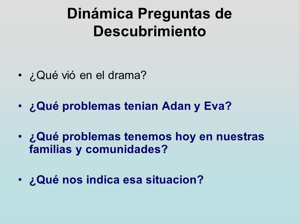 Dinámica Preguntas de Descubrimiento ¿Qué vió en el drama? ¿Qué problemas tenian Adan y Eva? ¿Qué problemas tenemos hoy en nuestras familias y comunid