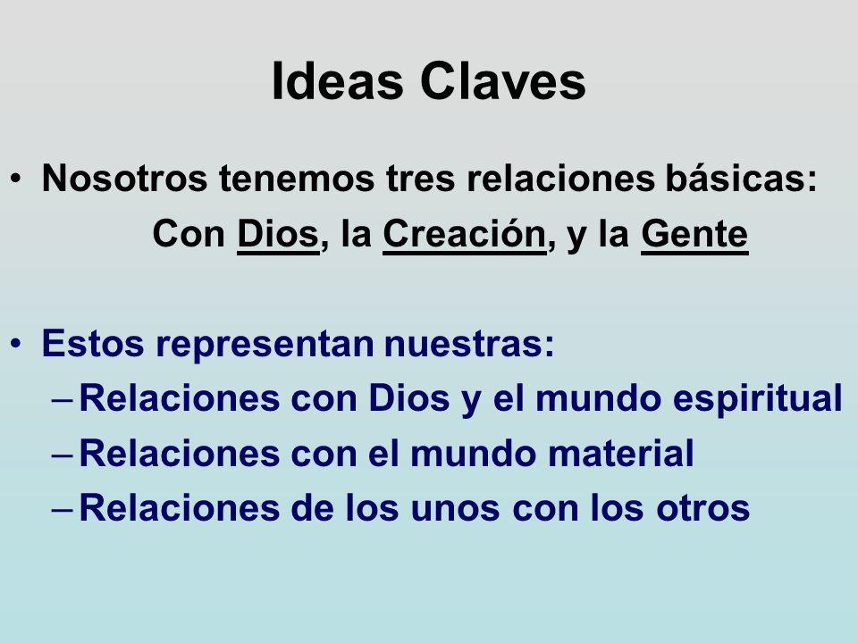 Ideas Claves Nosotros tenemos tres relaciones básicas: Con Dios, la Creación, y la Gente Estos representan nuestras: –Relaciones con Dios y el mundo e