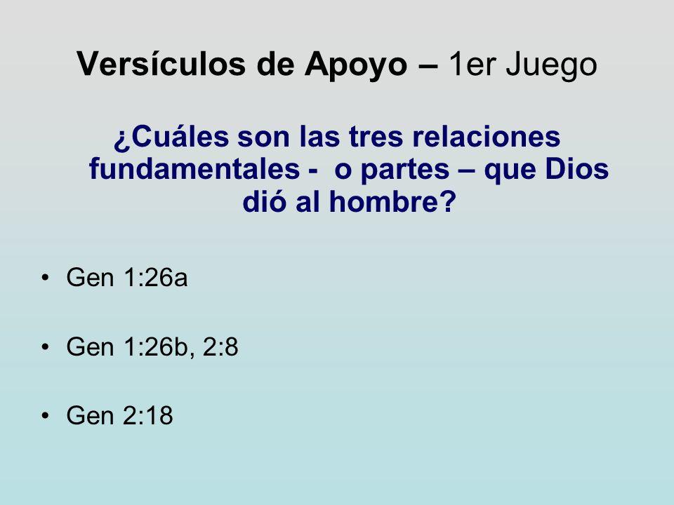 Versículos de Apoyo – 1er Juego ¿Cuáles son las tres relaciones fundamentales - o partes – que Dios dió al hombre? Gen 1:26a Gen 1:26b, 2:8 Gen 2:18