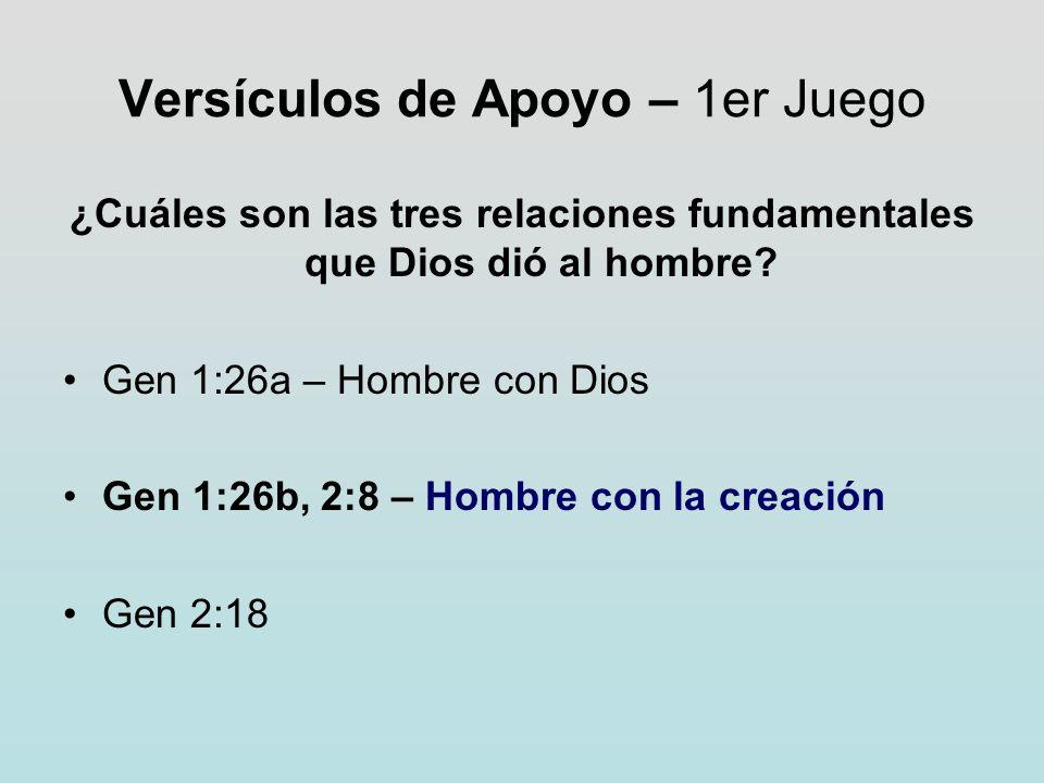Versículos de Apoyo – 1er Juego ¿Cuáles son las tres relaciones fundamentales que Dios dió al hombre? Gen 1:26a – Hombre con Dios Gen 1:26b, 2:8 – Hom