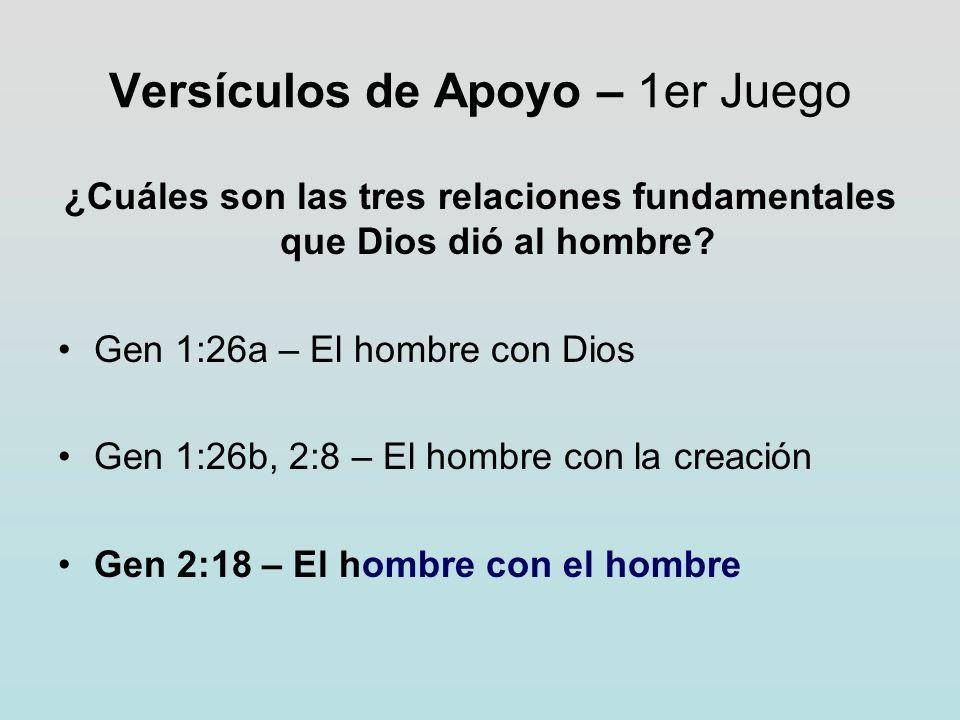 Versículos de Apoyo – 1er Juego ¿Cuáles son las tres relaciones fundamentales que Dios dió al hombre? Gen 1:26a – El hombre con Dios Gen 1:26b, 2:8 –
