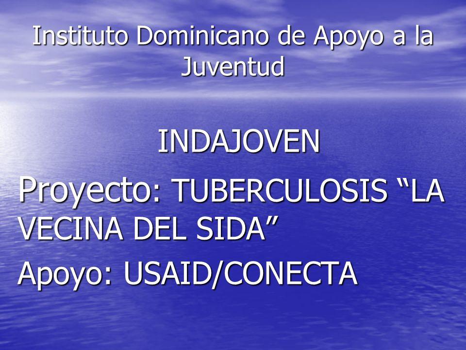 Instituto Dominicano de Apoyo a la Juventud INDAJOVEN Proyecto : TUBERCULOSIS LA VECINA DEL SIDA Apoyo: USAID/CONECTA