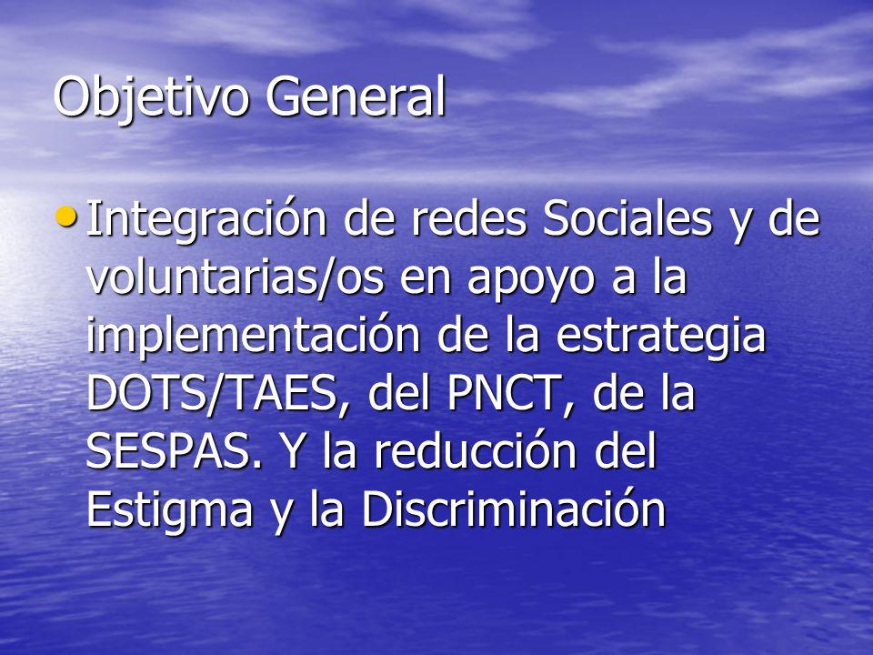 Objetivo General Integración de redes Sociales y de voluntarias/os en apoyo a la implementación de la estrategia DOTS/TAES, del PNCT, de la SESPAS. Y