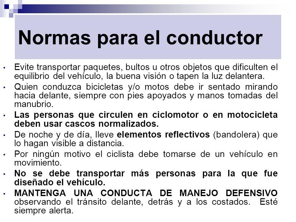 Normas para el conductor Evite transportar paquetes, bultos u otros objetos que dificulten el equilibrio del vehículo, la buena visión o tapen la luz