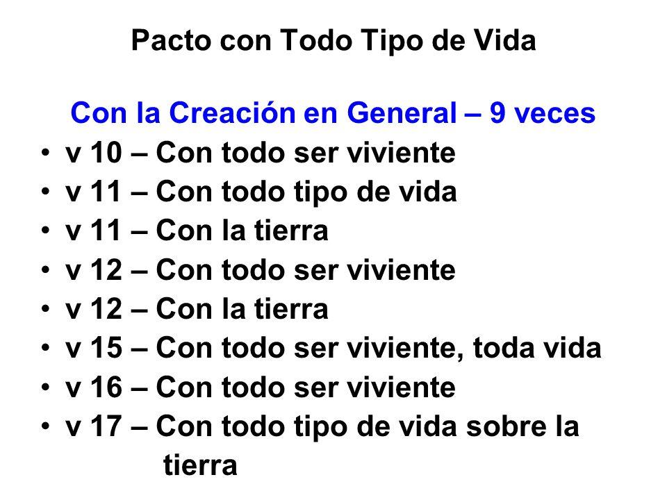 Pacto con Todo Tipo de Vida Con la Creación en General – 9 veces v 10 – Con todo ser viviente v 11 – Con todo tipo de vida v 11 – Con la tierra v 12 –