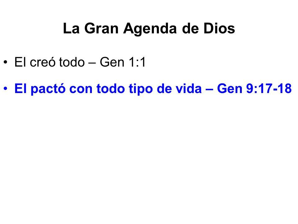 La Gran Agenda de Dios El creó todo – Gen 1:1 El pactó con todo tipo de vida – Gen 9:17-18