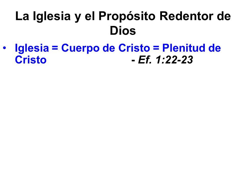 La Iglesia y el Propósito Redentor de Dios Iglesia = Cuerpo de Cristo = Plenitud de Cristo - Ef. 1:22-23