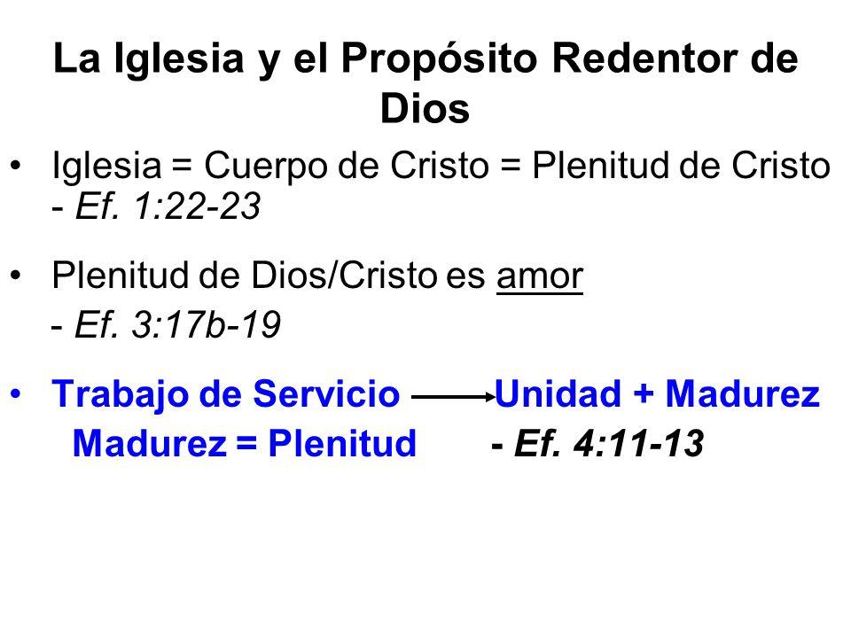 La Iglesia y el Propósito Redentor de Dios Iglesia = Cuerpo de Cristo = Plenitud de Cristo - Ef. 1:22-23 Plenitud de Dios/Cristo es amor - Ef. 3:17b-1