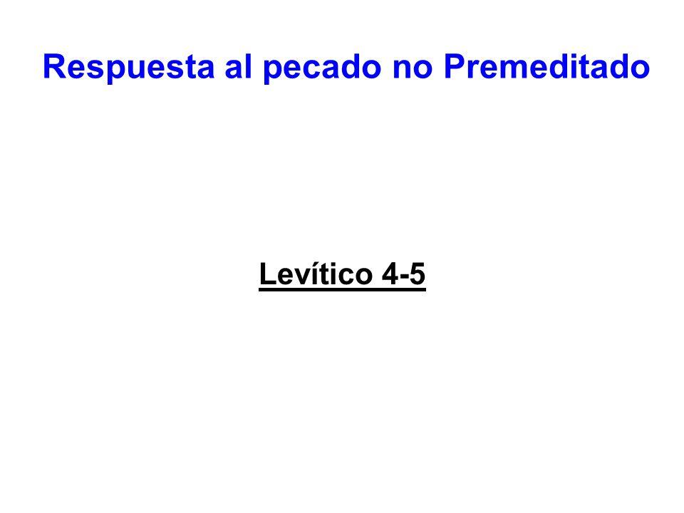 Respuesta al pecado no Premeditado Levítico 4-5
